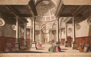 An Inside View of the Church of St. Stephen Wallbrook, London. T. Bowles.