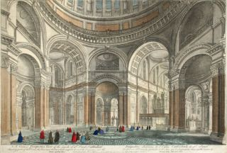 A Curious Perspective View of the Inside of St. Paul's Cathedral. English School