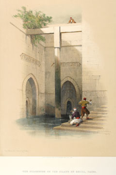 The Nilometer on the Island of Rhoda, Cairo. Egpyt and Nubia.