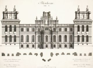 The East Front of Blenheim house drawn othographically. Britannia Illustrata. Johann Kip