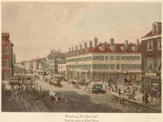 Broadway, New York, 1834. From the corner of Canal Street. R. Varin.