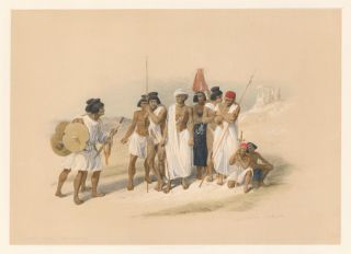 Group of Nubians at Wady Kardassy. Egypt and Nubia. David Roberts