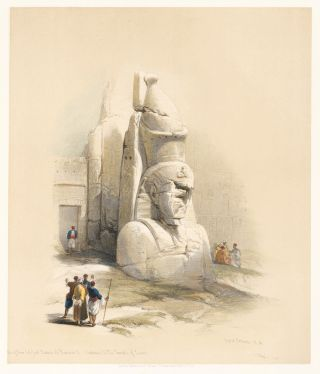 A Colossal Statue at the Entrance to the Temple of Luxor. Egypt and Nubia. David Roberts