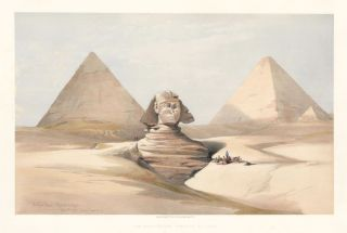 The Great Sphinx. Pyramids at Gizeh. Egypt and Nubia. David Roberts