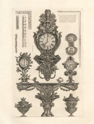 Furniture including a clock designed for Senator Rezzonico. Giovanni Battista Piranesi.