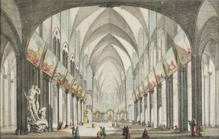 Perspective view of the interior of Notre Dame Cathedral in Paris]. French School