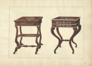 Two Small Tables. Table designs from a cabinet-maker's catalog of Charles X furniture.
