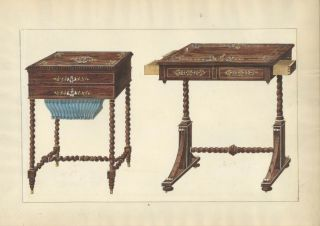 Sewing Table and Small Desk. Cabinet-maker's catalog of Charles X furniture.