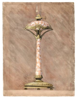Original watercolor design of an Art Nouveau lamp. R. Musy