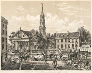 View of St. Paul's Church and the Broadway Stages, N.Y. 1831. D. T. Valentine