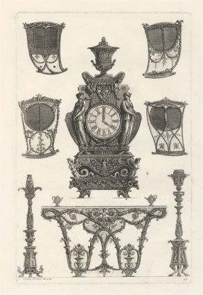 61. [Four sedan chairs, a clock, a side table and two candelabra]. Giovanni Battista Piranesi.