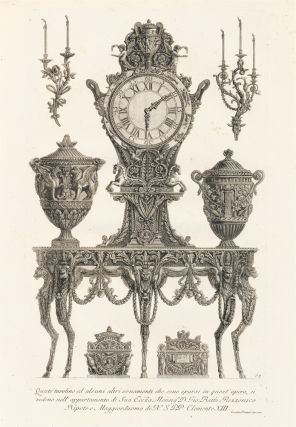 63. Furniture including a side table designed for Cardinal Rezzonico. Giovanni Battista Piranesi
