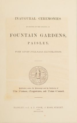 Inaugural Ceremonies in honour of the opening of Fountain Gardens Pais