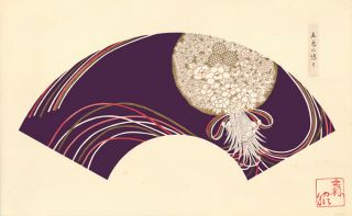 Purple background with white bouquet. Japanese Fan Design. Japanese School.