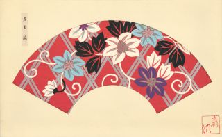 Red background with multi-color floral pattern. Japanese Fan Design. Japanese School.