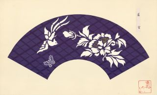 Purple diamond background with white phoenix, butterfly and flower. Japanese Fan Design. Japanese School.