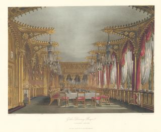 Gothic Dining Room, Carlton House. The History of the Royal Residences. W. H. Pyne, Pyne