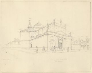 Sketch of a church. Unknown artist