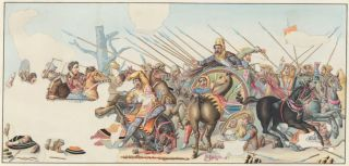 Battle of Issus between Alexander and Darius. Neapolitan School