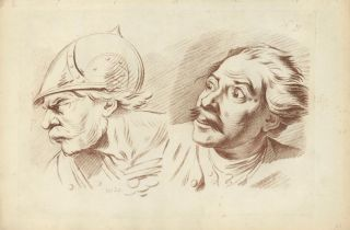Study of two male heads. Gabriel Smith