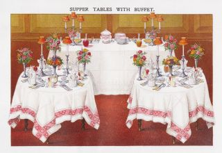 Supper Tables with Buffet. Mrs. Beeton's Book of Household Management. Isabella Beeton