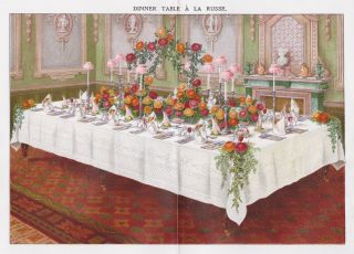 Dinner Table a la Russe. Mrs. Beeton's Book of Household Management. Isabella Beeton