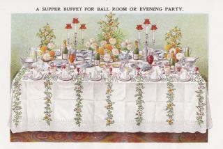 Supper Buffet for Ball Room or Evening Party. Mrs. Beeton's Book of Household Management....