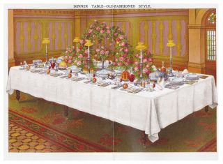 Dinner Table - Old Fashioned Style. Mrs. Beeton's Book of Household Management. Isabella Beeton