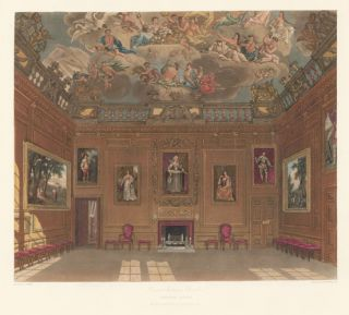 Queen's Audience Chamber, Windsor Castle. The History of the Royal Residences. W. H. Pyne, Pyne