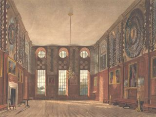 Guard Chamber, Hampton Court Palace. The History of the Royal Residences. W. H. Pyne