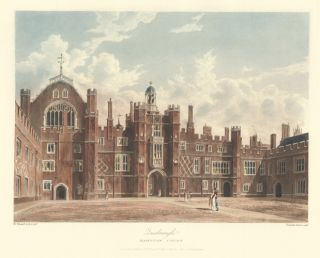 Quadrangle, Hampton Court Palace. The History of the Royal Residences. W. H. Pyne, Pyne
