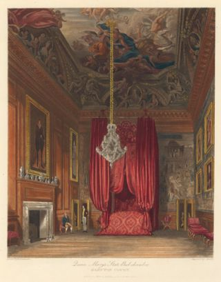 Queen Mary's State Bed-chamber, Hampton Court Palace. The History of the Royal Residences. W. H....