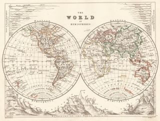 The World in Hemispheres. The Cabinet Atlas of the World. Alexander Keith Johnston