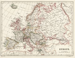 Europe. The Cabinet Atlas of the World. Alexander Keith Johnston