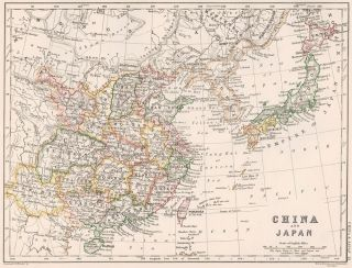 China and Japan. The Cabinet Atlas of the World. Alexander Keith Johnston
