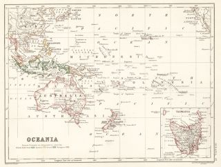 Oceania. The Cabinet Atlas of the World. Alexander Keith Johnston