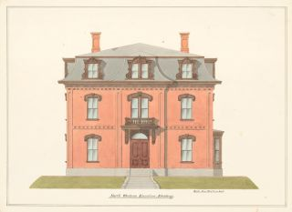 Elevation of house on Broadway, Chelsea, MA. American Architectural Rendering. John Cunningham
