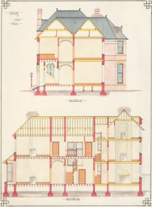 Section A.B. and Section C.D. Design for Villa Residence. F. Reginald Watson