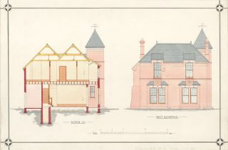 Section C.D. and West Elevation of a Villa.