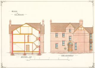 Section C.D. and Side Elevation. Design for Villa Residence.