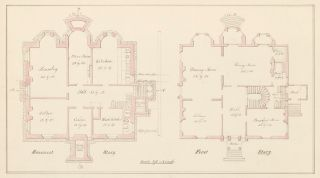 Basement and first floorplans of a house in Chelsea, MA. American Architectural Rendering. John Cunningham.