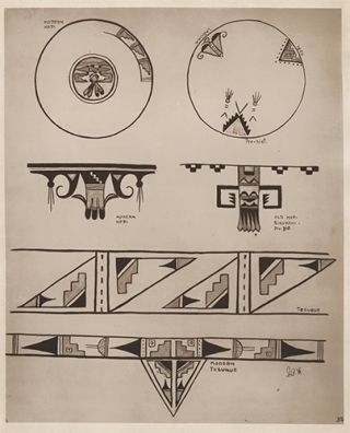 Designs adapted from use on china. American Indian Designs.