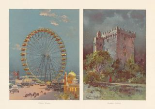 Ferris Wheel and Blarney Castle. The World's Fair in Water Colors. Charles S. Graham