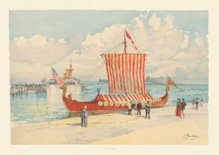 The Viking Ship. The World's Fair in Water Colors. Charles S. Graham