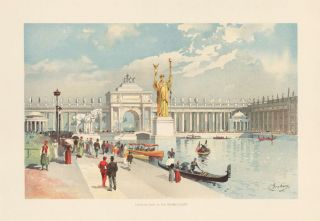Looking East in the Grand Court. The World's Fair in Water Colors. Charles S. Graham.