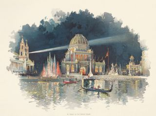 At Night in the Grand Court. The World's Fair in Water Colors. Charles S. Graham