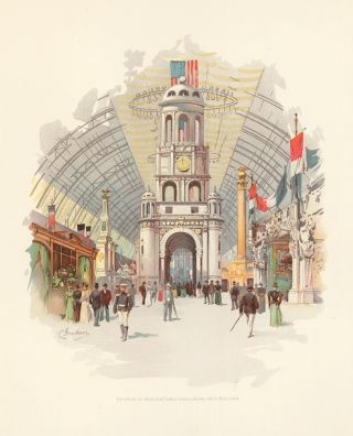 Interior of Manufactures and Liberal Arts Building. The World's Fair in Water Colors. Charles S. Graham.
