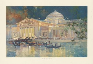 Art Palace at Night. The World's Fair in Water Colors. Charles S. Graham