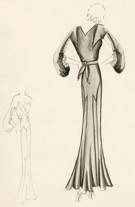 Pl. 8. Silver gown with geometric accents and cut-out sleeve details. Original Fashion...