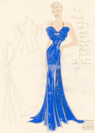 Pl. 21. Royal blue evening gown with gathered bow top and gold details, and a draped dress jacket...